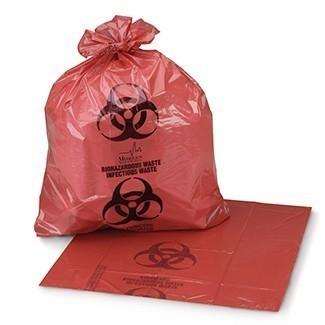 Biohazardous Waste Bag - Meet A.S.T.M. Dart Test Requirements, HDPE Film, Coreless Rolls